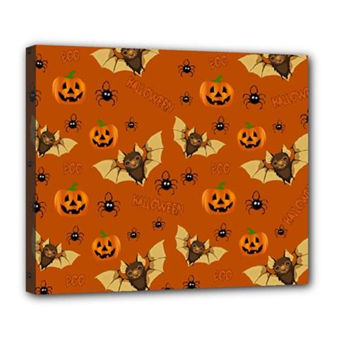 Bat, Pumpkin And Spider Pattern Deluxe Canvas 24  X 20   by Valentinaart
