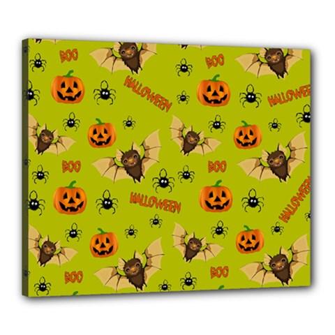 Bat, Pumpkin And Spider Pattern Canvas 24  X 20  by Valentinaart