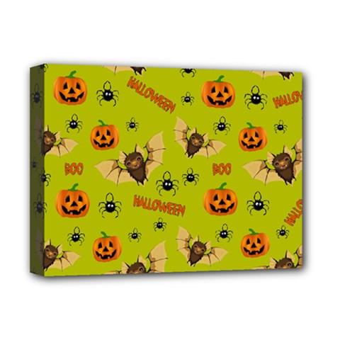 Bat, Pumpkin And Spider Pattern Deluxe Canvas 16  X 12   by Valentinaart