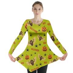 Bat, Pumpkin And Spider Pattern Long Sleeve Tunic  by Valentinaart