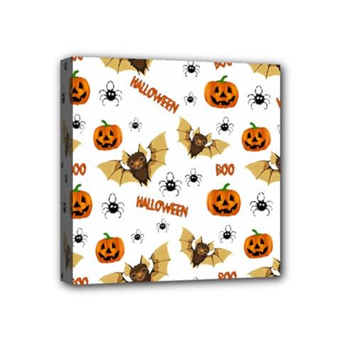 Bat, Pumpkin And Spider Pattern Mini Canvas 4  X 4  by Valentinaart