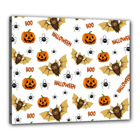 Bat, Pumpkin And Spider Pattern Canvas 24  X 20  by Valentinaart