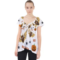Bat, Pumpkin And Spider Pattern Dolly Top