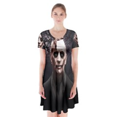 Zombie Short Sleeve V Neck Flare Dress by Valentinaart