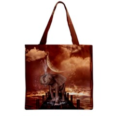 Cute Baby Elephant On A Jetty Grocery Tote Bag by FantasyWorld7