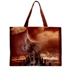 Cute Baby Elephant On A Jetty Zipper Mini Tote Bag by FantasyWorld7