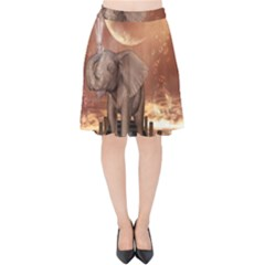 Cute Baby Elephant On A Jetty Velvet High Waist Skirt