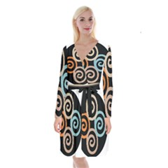 Abroad Spines Circle Long Sleeve Velvet Front Wrap Dress by Mariart