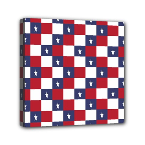 American Flag Star White Red Blue Mini Canvas 6  X 6  by Mariart