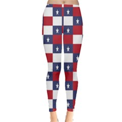 American Flag Star White Red Blue Leggings  by Mariart
