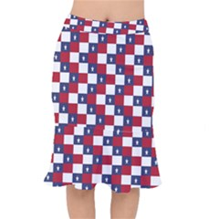 American Flag Star White Red Blue Mermaid Skirt by Mariart