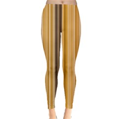 Brown Verticals Lines Stripes Colorful Leggings  by Mariart