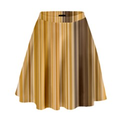 Brown Verticals Lines Stripes Colorful High Waist Skirt by Mariart