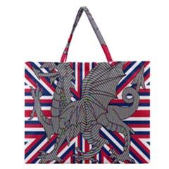 Alternatively Mega British America Dragon Illustration Zipper Large Tote Bag by Mariart