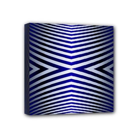 Blue Lines Iterative Art Wave Chevron Mini Canvas 4  X 4  by Mariart