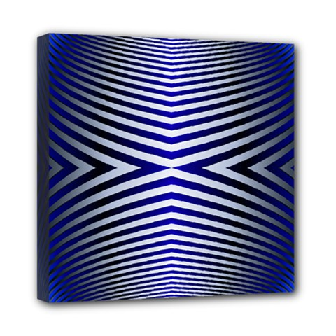 Blue Lines Iterative Art Wave Chevron Mini Canvas 8  X 8  by Mariart