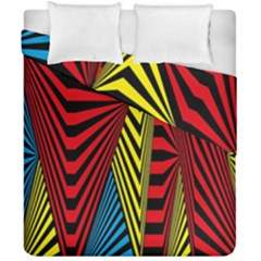 Door Pattern Line Abstract Illustration Waves Wave Chevron Red Blue Yellow Black Duvet Cover Double Side (california King Size)
