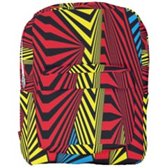 Door Pattern Line Abstract Illustration Waves Wave Chevron Red Blue Yellow Black Full Print Backpack