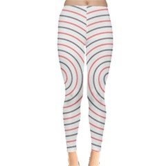 Double Line Spiral Spines Red Black Circle Leggings  by Mariart