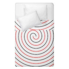 Double Line Spiral Spines Red Black Circle Duvet Cover Double Side (single Size) by Mariart