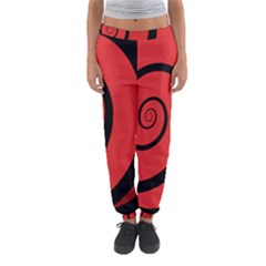 Double Spiral Thick Lines Black Red Women s Jogger Sweatpants by Mariart