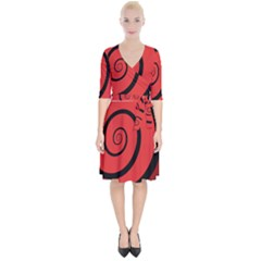 Double Spiral Thick Lines Black Red Wrap Up Cocktail Dress