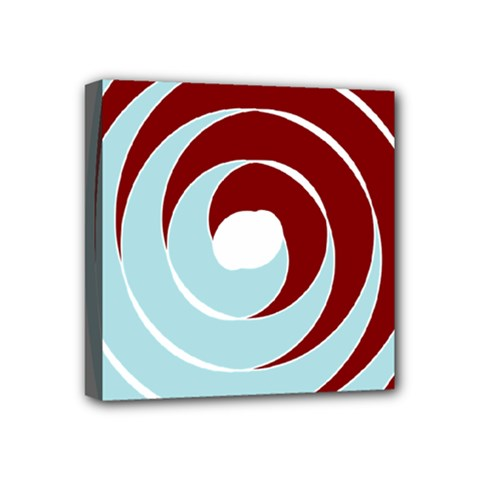 Double Spiral Thick Lines Blue Red Mini Canvas 4  X 4  by Mariart