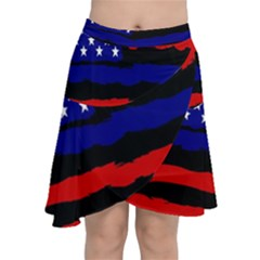 Flag American Line Star Red Blue White Black Beauty Chiffon Wrap