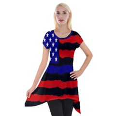 Flag American Line Star Red Blue White Black Beauty Short Sleeve Side Drop Tunic by Mariart