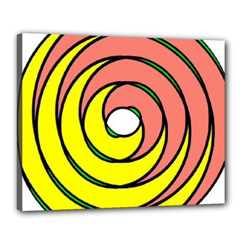 Double Spiral Thick Lines Circle Canvas 20  X 16  by Mariart
