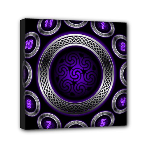 Digital Celtic Clock Template Time Number Purple Mini Canvas 6  X 6  by Mariart