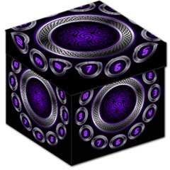 Digital Celtic Clock Template Time Number Purple Storage Stool 12   by Mariart