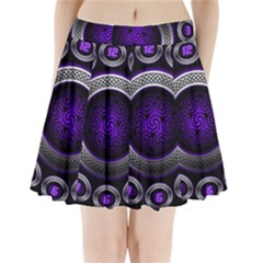 Digital Celtic Clock Template Time Number Purple Pleated Mini Skirt by Mariart