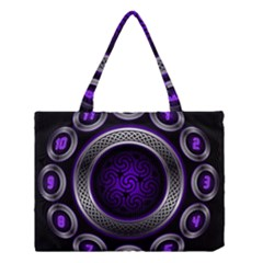 Digital Celtic Clock Template Time Number Purple Medium Tote Bag by Mariart