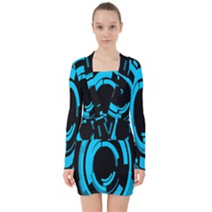Graphics Abstract Motion Background Eybis Foxe V Neck Bodycon Long Sleeve Dress
