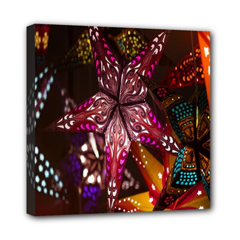Hanging Paper Star Lights Mini Canvas 8  X 8  by Mariart