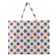 Flowers Pattern Recolor Artwork Sunflower Rainbow Beauty Zipper Large Tote Bag by Mariart