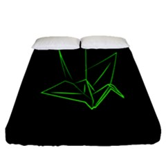 Origami Light Bird Neon Green Black Fitted Sheet (queen Size) by Mariart