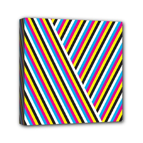 Lines Chevron Yellow Pink Blue Black White Cute Mini Canvas 6  X 6  by Mariart