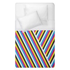 Lines Chevron Yellow Pink Blue Black White Cute Duvet Cover (single Size) by Mariart