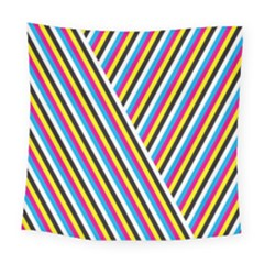 Lines Chevron Yellow Pink Blue Black White Cute Square Tapestry (large) by Mariart