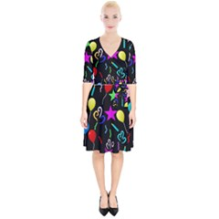 Party Pattern Star Balloon Candle Happy Wrap Up Cocktail Dress