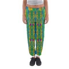 Rainbows Rain In The Golden Mangrove Forest Women s Jogger Sweatpants by pepitasart