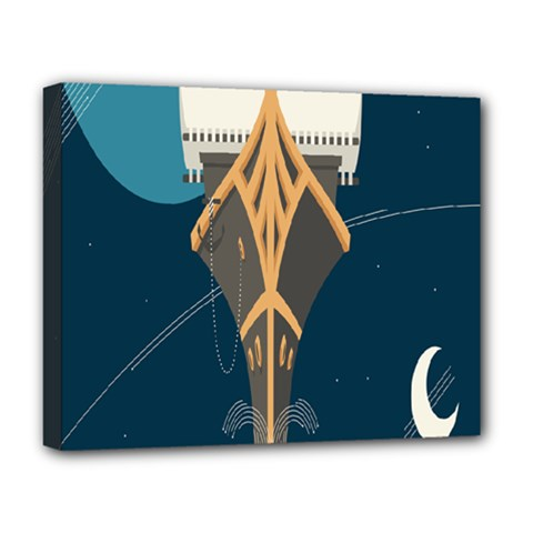 Planetary Resources Exploration Asteroid Mining Social Ship Deluxe Canvas 20  X 16   by Mariart