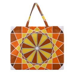 Ornaments Art Line Circle Zipper Large Tote Bag by Mariart