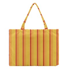 Red Orange Lines Back Yellow Medium Tote Bag by Mariart