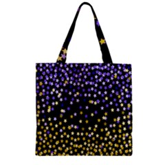 Space Star Light Gold Blue Beauty Zipper Grocery Tote Bag by Mariart