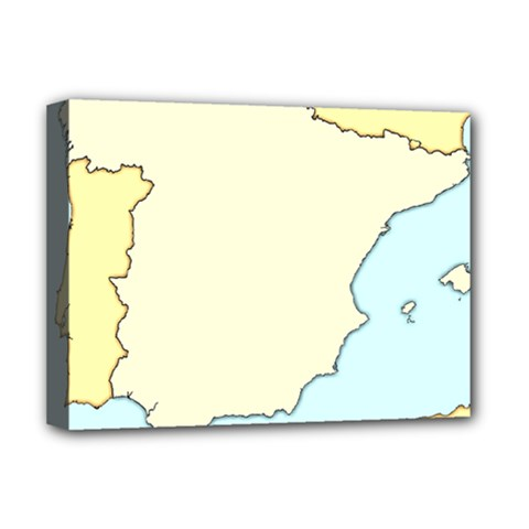 Spain Map Modern Deluxe Canvas 16  X 12   by Mariart