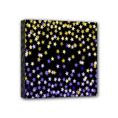 Space Star Light Gold Blue Beauty Black Mini Canvas 4  X 4  by Mariart