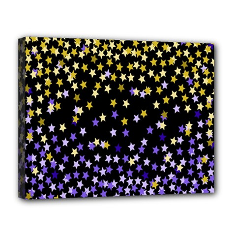 Space Star Light Gold Blue Beauty Black Canvas 14  X 11  by Mariart